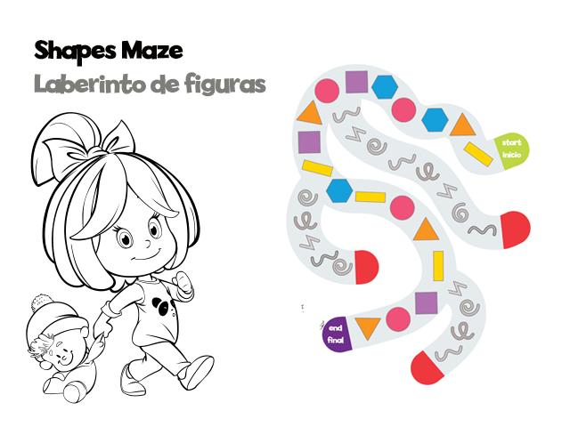 Flat Shapes Maze Playsheet